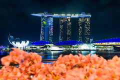 Marinabaysand buildind at Singapore with blurry foreground. Stock Photos