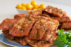 Marinade ribs. Prepared to be grilled in the barbecue Stock Photography