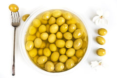 Marinaded green olives Royalty Free Stock Photos