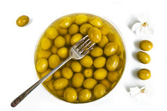 Marinaded green olives Royalty Free Stock Photo