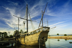 Marinaio, Christopher Columbus - particolare della nave. Fotografie Stock Libere da Diritti