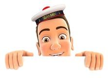 marinaio 3d che si nasconde dietro la parete bianca Immagine Stock Libera da Diritti