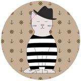 Marinaio del gatto dell'illustrazione Fotografie Stock