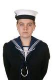 Marinaio femminile nel bianco isolato blu marino Fotografia Stock Libera da Diritti
