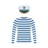 Marinaio Shirt e capitano Cap Immagini Stock