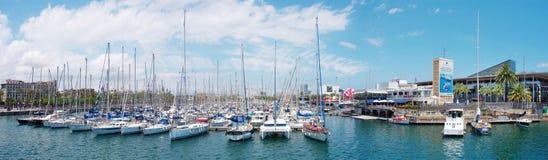 Marinaport Vell i Barcelona Arkivbild
