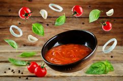 Marinara sauce with flying ingredients to prepare it Stock Photography
