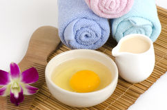 Marinate with curd and egg for dry and damaged hair. Based on natural raw materials Stock Photo