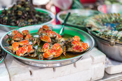 Marinate raw food. Marinate raw crabs for sell in area of Yaowarat or Chinatown of Thailand Royalty Free Stock Photos