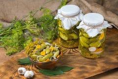 Marinated огурцы, огурцы в шаре, комплекте соленья огурца Стоковая Фотография RF