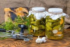 Marinated огурцы, огурцы в шаре, комплекте соленья огурца Стоковые Фотографии RF