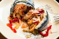 Marinated сельди с vegetable прокладкой стоковая фотография rf