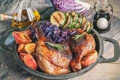 Marinated части утки зажарили при красная капуста, луки и яблоки зажаренная и послуженная в деревенском стиле стоковая фотография