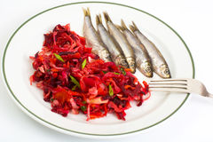 Marinated anchovies isolate on a white background Stock Images
