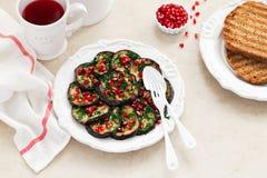 Marinated baked eggplant Stock Images