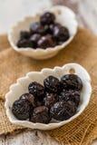 Marinated Black Olives Stock Photography