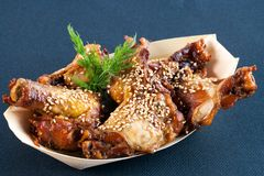 Marinated buffalo wings with sesame seeds. Stock Photography