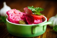 Marinated cabbage with beets. And other vegetables royalty free stock photos