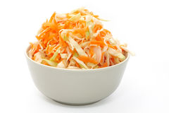 Marinated cabbage. Object over white. Marinated cabbage and carrots . Object over white. Studio isolated royalty free stock image