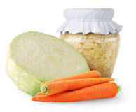 Marinated cabbage (sauerkraut) in glass jar Royalty Free Stock Photos