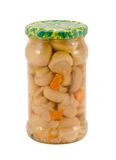 Marinated champignon mushrooms glass jar isolated Stock Image