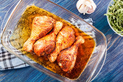 Marinated chicken drumsticks Royalty Free Stock Image