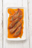 Marinated chicken fillet stripes on a plate Royalty Free Stock Image