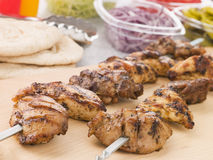 Marinated Chicken Kebab On A Skewer Stock Images