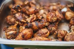 Marinated Chicken Legs Fried On The Hot Flaming BBQ Grill Royalty Free Stock Photography