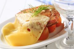 Marinated chicken topped with Swiss cheese Royalty Free Stock Photo