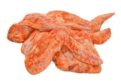Marinated chicken wings. Isolated on white background Stock Image