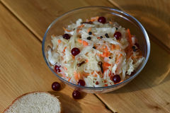 Marinated cranberries in cabbage Royalty Free Stock Photography