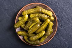Marinated cucumber in plate Royalty Free Stock Photos