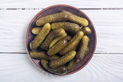 Marinated cucumber in plate Stock Images
