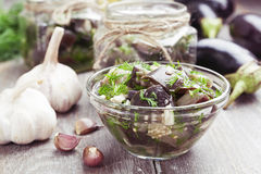 Marinated eggplant in jars Royalty Free Stock Images