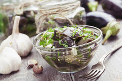 Marinated eggplant in jars Stock Photo