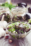 Marinated eggplant in jars Stock Image