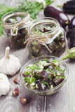 Marinated eggplant in jars Royalty Free Stock Photos