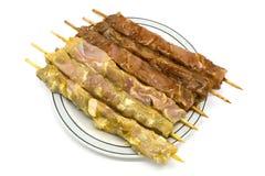 marinated fega hemlagade kebabs Fotografering för Bildbyråer