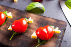 Marinated fillet with tomato heart shaped. Stock Photos