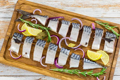 Marinated Fillets of Fresh atlantic mackerel fish cut in slices Stock Photography