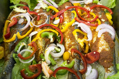 Marinated Fish For Barbecue Stock Photos