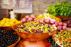 Marinated garlic and olives on provencal street market in Proven. Ce, France. Selling and buying royalty free stock image