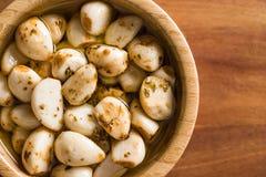 Marinated garlic. Pickled garlic. Royalty Free Stock Photo
