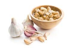 Marinated garlic. Pickled garlic. Stock Image