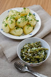 Marinated green beans and boiled potatoes Royalty Free Stock Photo