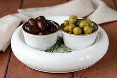 Marinated green and black olives (Kalamata) Royalty Free Stock Image