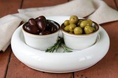 Marinated green and black olives (Kalamata) Royalty Free Stock Image