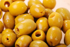 Marinated green olives Stock Images