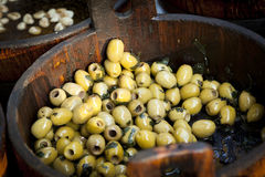 Marinated green olives Stock Photography